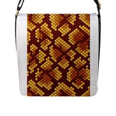 Snake Skin Pattern Vector Flap Messenger Bag (l)  by BangZart