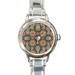 Jewel Tiles Kaleidoscope Round Italian Charm Watch by WolfepawFractals