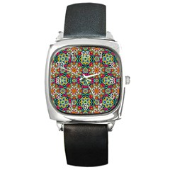 Jewel Tiles Kaleidoscope Square Metal Watch by WolfepawFractals