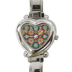 Jewel Tiles Kaleidoscope Heart Italian Charm Watch by WolfepawFractals