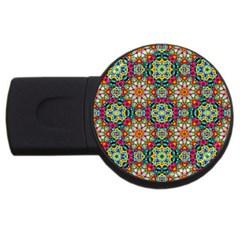 Jewel Tiles Kaleidoscope Usb Flash Drive Round (4 Gb) by WolfepawFractals
