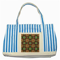 Jewel Tiles Kaleidoscope Striped Blue Tote Bag by WolfepawFractals