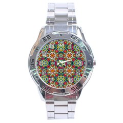 Jewel Tiles Kaleidoscope Stainless Steel Analogue Watch by WolfepawFractals