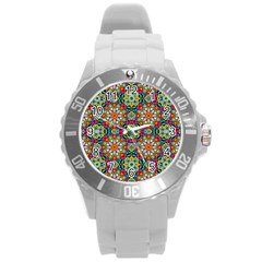 Jewel Tiles Kaleidoscope Round Plastic Sport Watch (l) by WolfepawFractals