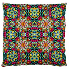 Jewel Tiles Kaleidoscope Large Cushion Case (one Side) by WolfepawFractals