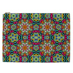 Jewel Tiles Kaleidoscope Cosmetic Bag (xxl)  by WolfepawFractals