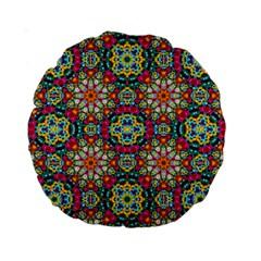 Jewel Tiles Kaleidoscope Standard 15  Premium Round Cushions by WolfepawFractals