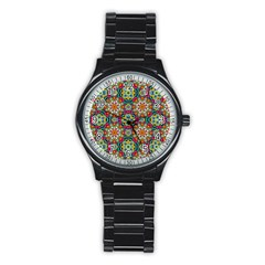 Jewel Tiles Kaleidoscope Stainless Steel Round Watch by WolfepawFractals