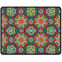 Jewel Tiles Kaleidoscope Double Sided Fleece Blanket (medium)  by WolfepawFractals