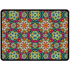 Jewel Tiles Kaleidoscope Double Sided Fleece Blanket (large)  by WolfepawFractals