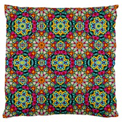 Jewel Tiles Kaleidoscope Large Flano Cushion Case (two Sides) by WolfepawFractals