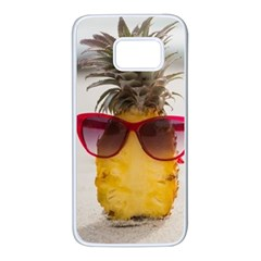 Pineapple With Sunglasses Samsung Galaxy S7 White Seamless Case by VandDdesigns