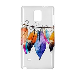 Watercolor Feathers Samsung Galaxy Note 4 Hardshell Case by LimeGreenFlamingo
