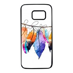 Watercolor Feathers Samsung Galaxy S7 Black Seamless Case by LimeGreenFlamingo