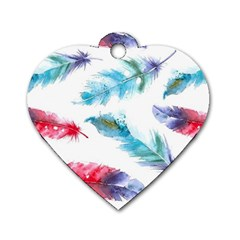 Watercolor Feather Background Dog Tag Heart (One Side)