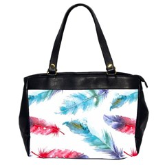 Watercolor Feather Background Office Handbags (2 Sides)  by LimeGreenFlamingo