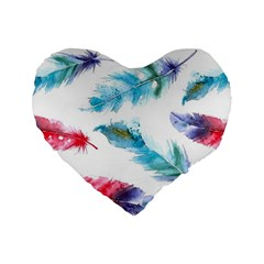 Watercolor Feather Background Standard 16  Premium Heart Shape Cushions by LimeGreenFlamingo