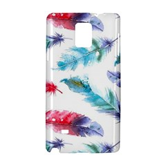 Watercolor Feather Background Samsung Galaxy Note 4 Hardshell Case by LimeGreenFlamingo