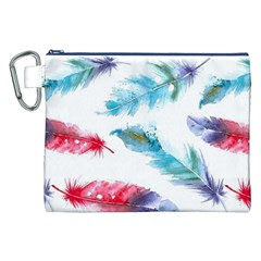 Watercolor Feather Background Canvas Cosmetic Bag (xxl) by LimeGreenFlamingo