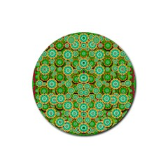 Flowers In Mind In Happy Soft Summer Time Rubber Coaster (round)  by pepitasart