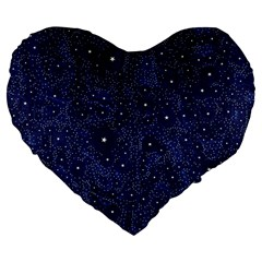 Awesome Allover Stars 01b Large 19  Premium Flano Heart Shape Cushions by MoreColorsinLife
