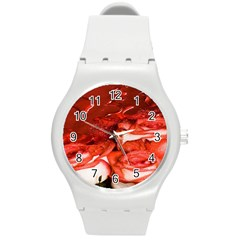 Nice Rose With Water Round Plastic Sport Watch (m) by BangZart