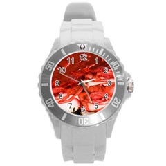 Nice Rose With Water Round Plastic Sport Watch (l) by BangZart