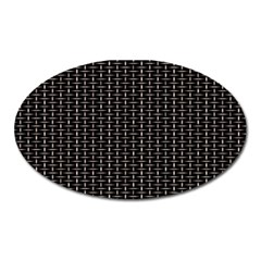 Dark Black Mesh Patterns Oval Magnet by BangZart