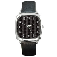 Dark Black Mesh Patterns Square Metal Watch by BangZart