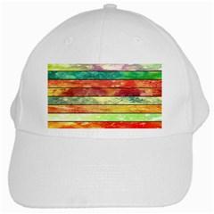 Stripes Color Oil White Cap by BangZart
