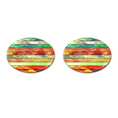 Stripes Color Oil Cufflinks (oval) by BangZart