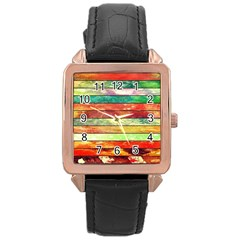 Stripes Color Oil Rose Gold Leather Watch  by BangZart