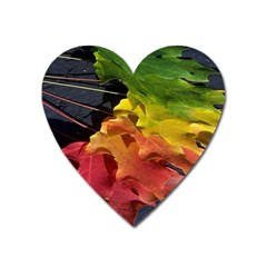 Green Yellow Red Maple Leaf Heart Magnet by BangZart
