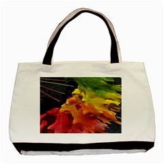 Green Yellow Red Maple Leaf Basic Tote Bag by BangZart