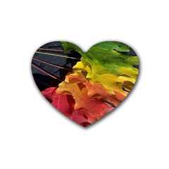 Green Yellow Red Maple Leaf Rubber Coaster (heart)  by BangZart