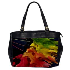 Green Yellow Red Maple Leaf Office Handbags by BangZart