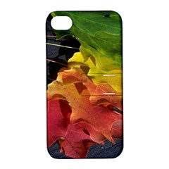Green Yellow Red Maple Leaf Apple Iphone 4/4s Hardshell Case With Stand by BangZart
