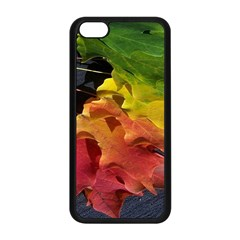 Green Yellow Red Maple Leaf Apple Iphone 5c Seamless Case (black) by BangZart