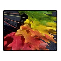 Green Yellow Red Maple Leaf Double Sided Fleece Blanket (small)  by BangZart
