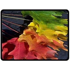 Green Yellow Red Maple Leaf Double Sided Fleece Blanket (large)  by BangZart