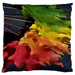 Green Yellow Red Maple Leaf Large Flano Cushion Case (two Sides) by BangZart