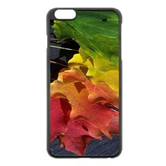 Green Yellow Red Maple Leaf Apple Iphone 6 Plus/6s Plus Black Enamel Case by BangZart