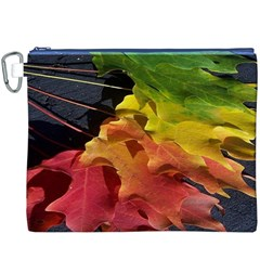 Green Yellow Red Maple Leaf Canvas Cosmetic Bag (xxxl) by BangZart