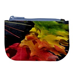 Green Yellow Red Maple Leaf Large Coin Purse by BangZart