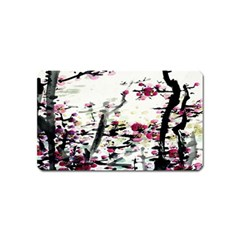 Pink Flower Ink Painting Art Magnet (name Card) by BangZart