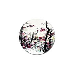 Pink Flower Ink Painting Art Golf Ball Marker by BangZart