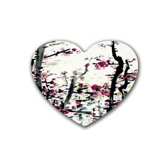 Pink Flower Ink Painting Art Rubber Coaster (heart)  by BangZart