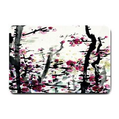 Pink Flower Ink Painting Art Small Doormat  by BangZart