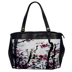 Pink Flower Ink Painting Art Office Handbags by BangZart