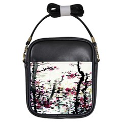 Pink Flower Ink Painting Art Girls Sling Bags by BangZart